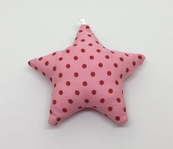 Estrella textil rosa con topitos fucsia