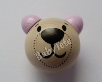 Oso 3D natural/rosa pálido MOD3