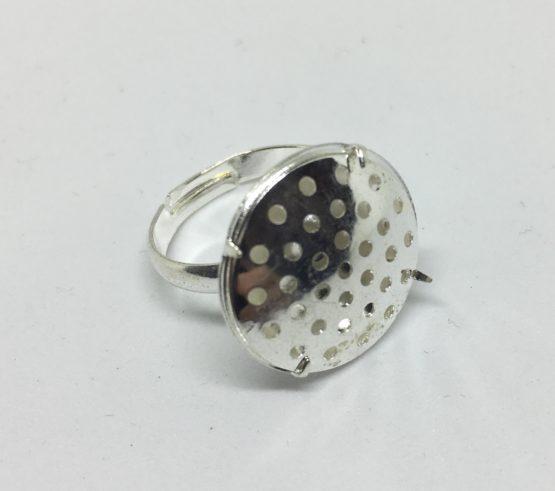 Base anillo con cabuchón plateado