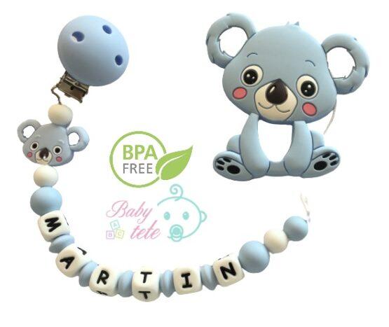 Chupetero personalizado con mordedor de silicona koala celeste