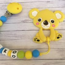 Chupetero silicona con nombre y mordedor koala amarillo