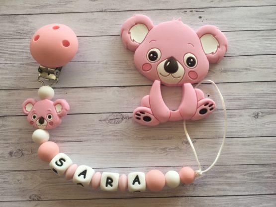 Chupetero silicona con nombre y mordedor koala (3 colores a elegir)