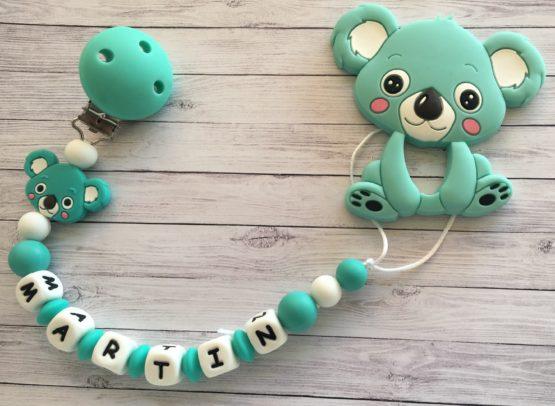 Chupetero silicona con nombre y mordedor koala