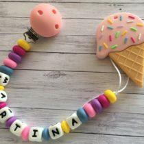 Chupetero silicona con nombre y mordedor helado