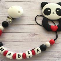 Chupetero silicona con nombre y mordedor osito panda