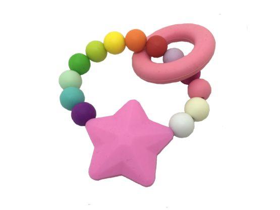 Mordedor silicona arcoiris estrella rosa
