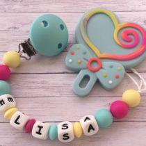 Chupetero silicona con nombre y mordedor lollypop
