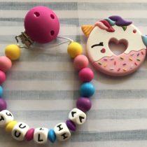 Chupetero silicona con nombre y mordedor unicornio donut