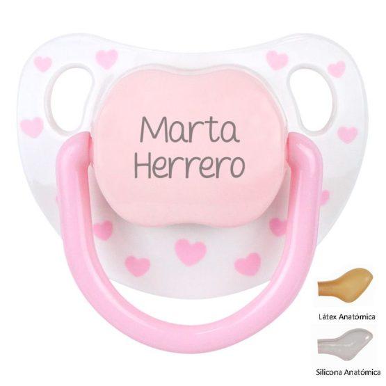 Chupete Baby chic blanco/rosa personalizado