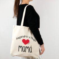 Bolso algodón orgánico personalizado (nombre niño/a) corazón Mamá