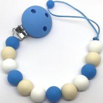 Chupetero de silicona azul/beige/blanco