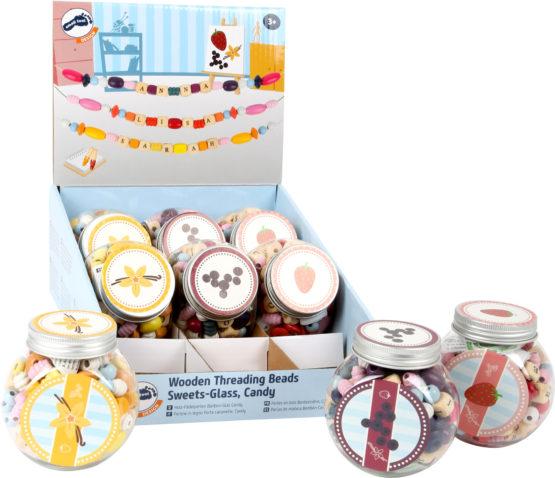 Display Perlas de madera Bombón en Vaso Candy