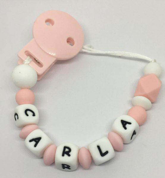Chupetero personalizado silicona/sintético hexágono rosa pálido