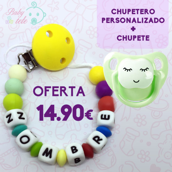 Pack Chupetero Personalizado + Chupete Baby pestañas y sonrisa – Promo