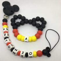 Chupetero de silicona personalizado con mordedor Mickey Style