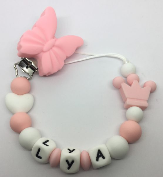 Chupetero de silicona personalizado mariposa/corazón