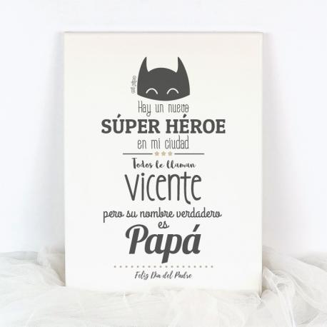Lienzo Personalizado Súper Héroe (nombre Papá)