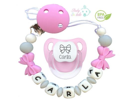 Chupetero personalizado silicona lazos + chupete baby rosa pastel