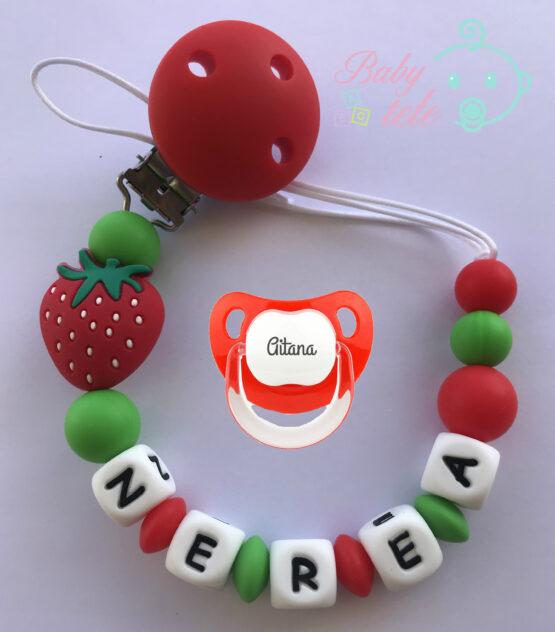 Chupetero fresa personalizado + chupete baby rojo