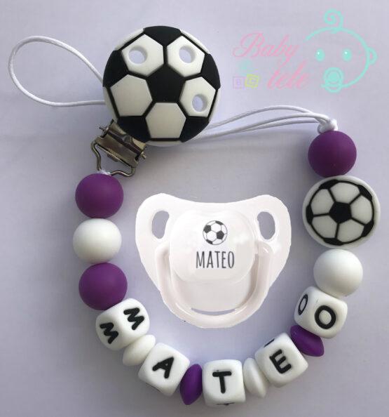 Chupetero fútbol personalizado merengue + chupete baby blanco pelota + nombre