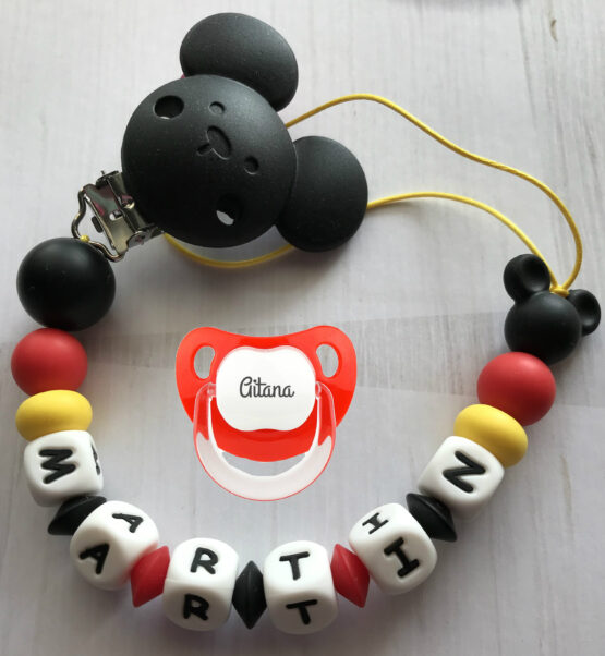 Chupetero Mickey personalizado + chupete baby rojo