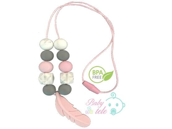 Collar de lactancia pluma rosa silicona