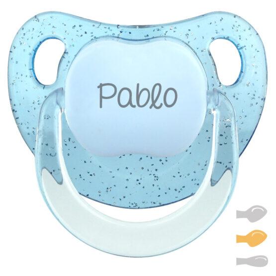 Chupete Baby Glitter azul Personalizado