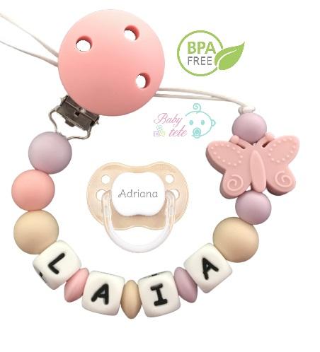 Chupetero personalizado de silicona mariposa rosa + chupete new classic beige