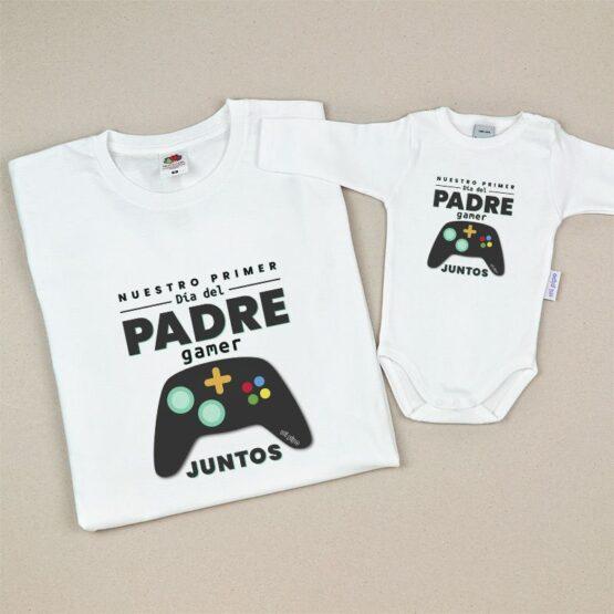 Pack Camiseta + Body Divertidos Nuestro primer día del Padre gamer juntos