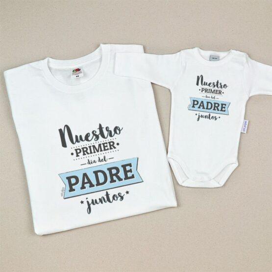 Pack Camiseta + Body Divertidos Nuestro primer día del Padre juntos insignia