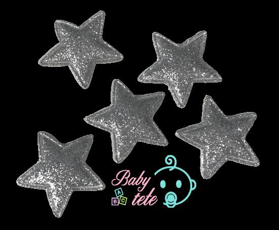 Parche acolchado estrella plateada (5 uni)