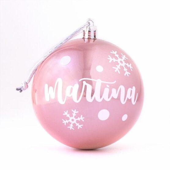 Bola de Navidad personalizada rosa nacarada